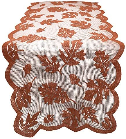 Fall Table Runner 72 x 13 Inch, Thanksgiving Decorations Maple Leaves Table Runner Harvest Lace Pumpkin Runners Thanksgiving Dinner Autumn Seasonal Decor Gifts