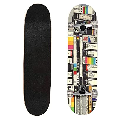 "puiuoo VHS Longboard Skateboard Boys And Girls Beginners Professional Adult Road Brush Street Maple Boards Four-wheel Outdoor Sports Skateboard 31""x8"" : Sports & Outdoors"