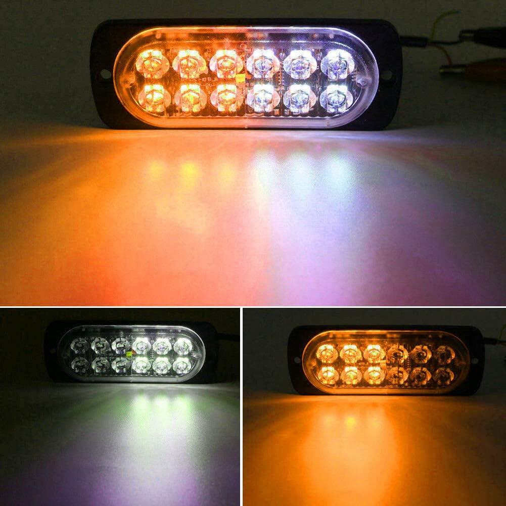 Zqasales 10PCS Emergency Strobe Lights Waterproof 12 LED White Amber Warning Side Marker Light Tow Truck Flashing 12V-24V Universal Car Accessories