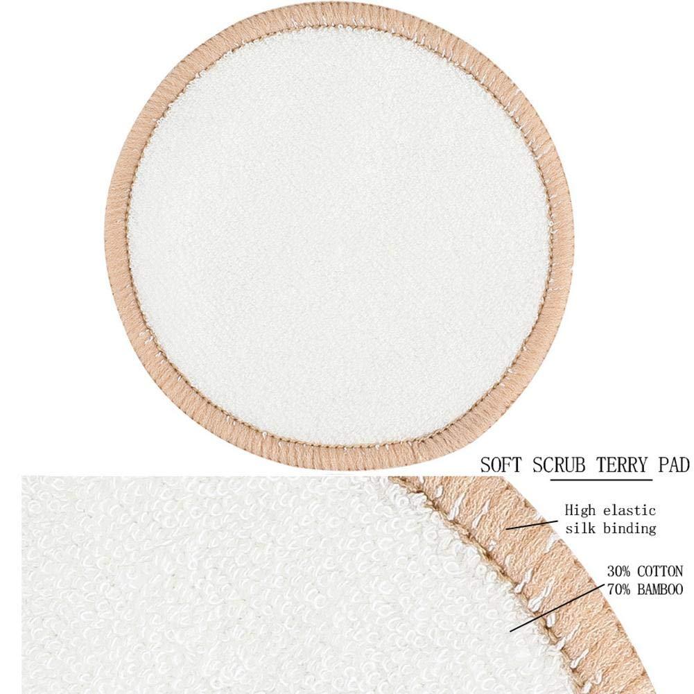 4pcs Riutilizzabile Pad per Struccante Tappetino in bamb/ù Spugna in Velluto A Soffio per Trucco Occhi E Altre Parti della Pelle per Viso