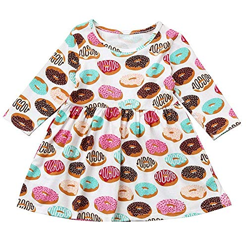 Toddler Kids Baby Girls Fall Dress Donut Print Skirt Long Sleeve Outfits Party Clothes Set (Donut, 3T) -