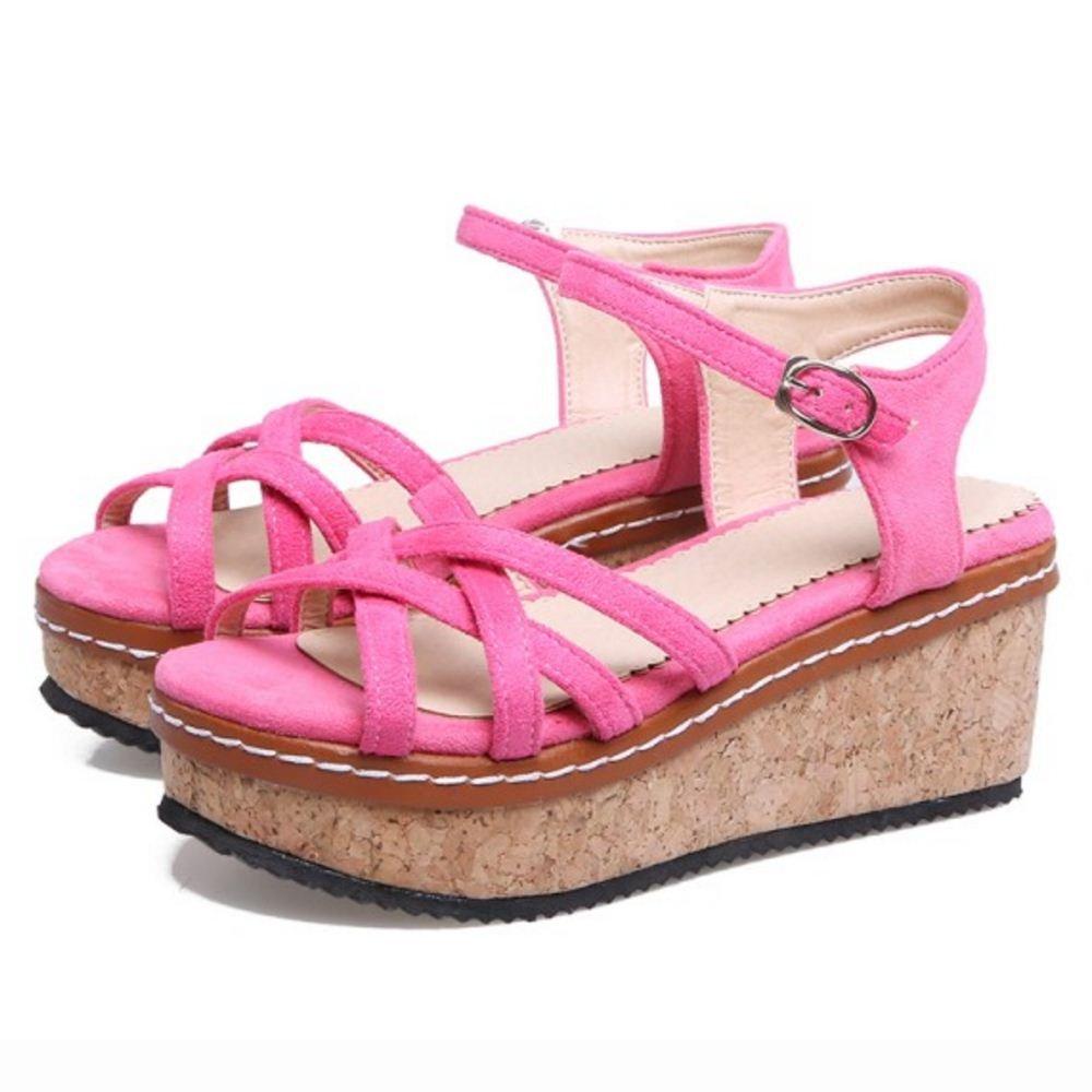 RizaBina Women Buckle Strap Sandals Flatform B07CTG1RC1 7 24.5 US = 24.5 7 CM|Pink c396cf