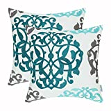 teal throw pillow  Pack of 2 Cotton Throw Pillow Cases Covers for Bed Couch Sofa Vintage Compass Geometric Floral Embroidered 18 X 18 Inches Teal Duckegg Gray