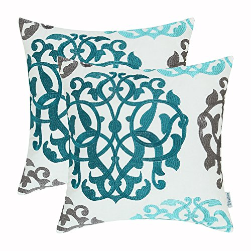Floral Accent Pillow - CaliTime Pack of 2 Cotton Throw Pillow Cases Covers for Bed Couch Sofa Vintage Compass Geometric Floral Embroidered 18 X 18 Inches Teal Duckegg Gray