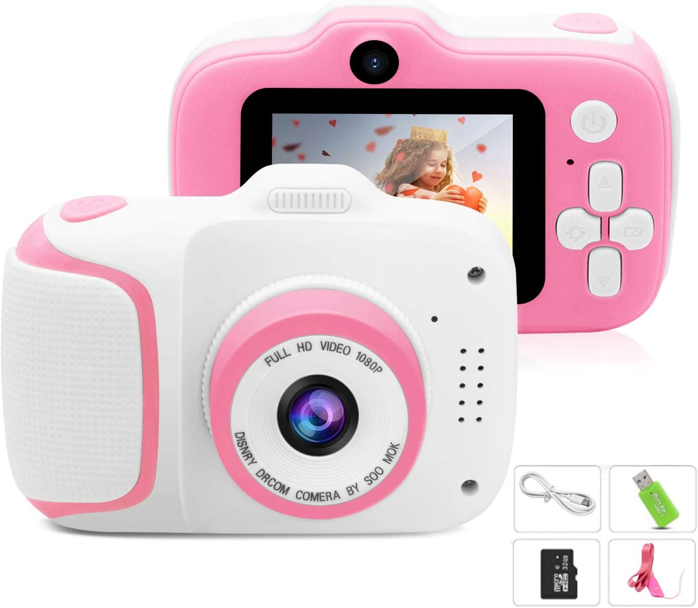 Kids Camera, Best Birthday Gifts for Girls Age 3-9, HD Digital Video Cameras for Toddler, Portable Toy for 3 4 5 6 7 8 9 Year Old Girls with 32GB SD Card-Pink