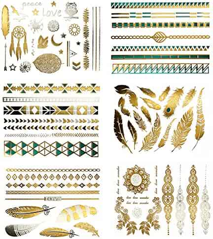 Metallic Temporary Tattoos - 75+ Designs, Pack of 6 Sheets (Chloe Collection)
