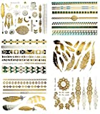 Temporary Tribal Boho Metallic Tattoos - Over 75 Designs in Turquoise Gold and Silver (6 Sheets) Terra Tattoos Chloe Collection