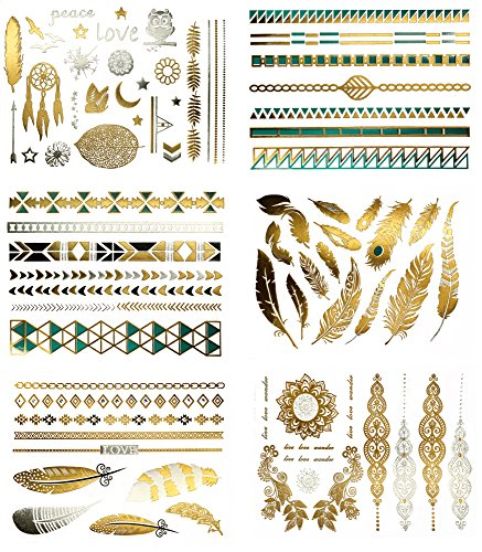 Boho Temporary Metallic Tattoos - Over 75 Gold Turquoise Tats (6 Sheets) Terra Tattoos Chloe]()