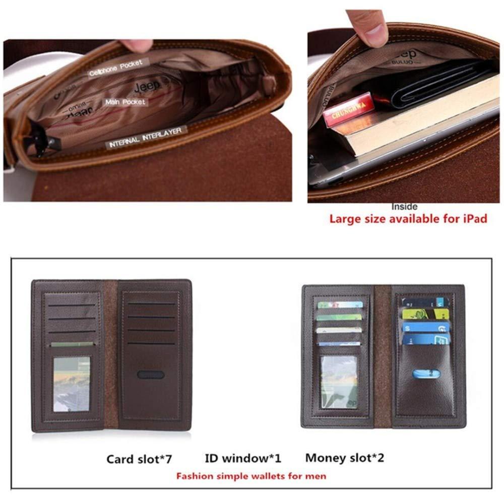 Amazon.com | JEEP BULUO Messenger Bag 2-Set Men PU Leather Shoulder Bags Business Crossbody Casual Bags Famous Brand for Unisex (Small, Khaki) | Messenger ...