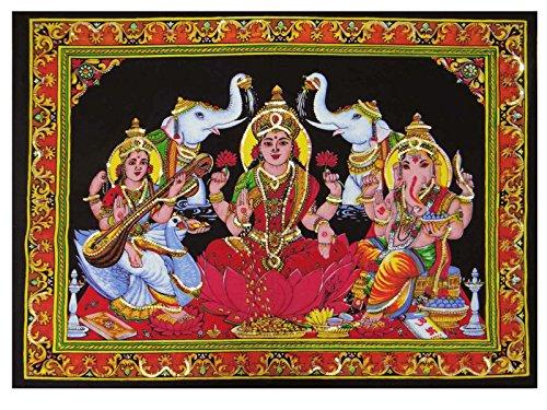 Goddess Laxmi Ganesha Saraswati Indian Wall Hanging Black Cotton Poster Tapestries