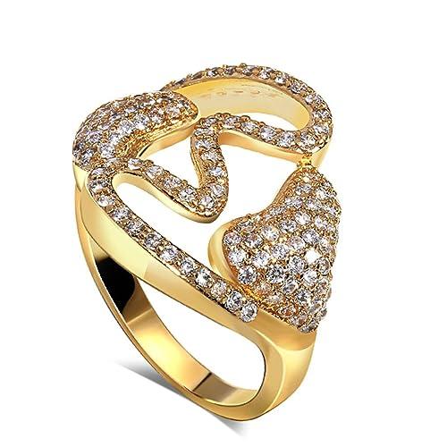 Bishilin Chapado en 18K Oro Hueco Anillos de Boda Compromiso Corazón Cz Piedras Talla 12