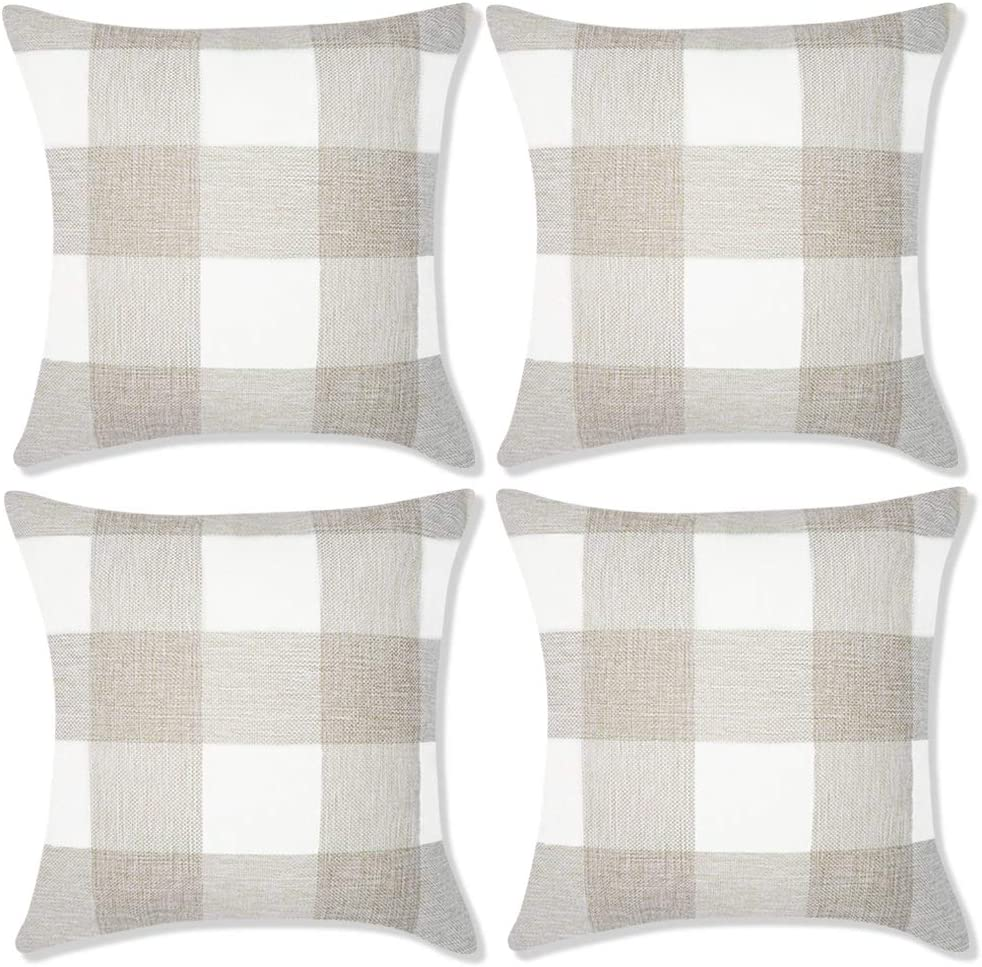 Decorbay Set of 4 Farmhouse Buffalo Check Plaid Pillow Covers Decorative Square Throw Pillow Covers Home Decor Set Cushion case for Sofa Bedroom car 18x18 inches