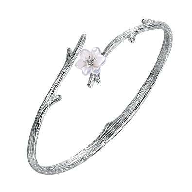 Jewboo S925 Sterling Silver Snowflake Open Ring Women Inlaid Cubic Zirconia Adjustable Jewelry FUnoKild91