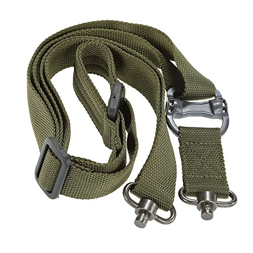 GXG-1987 Adjustable 2 Point Rifle Gun Sling Outdoor Belt, Fit Any Rifle, Easy Length Adjuster Strap (Green)
