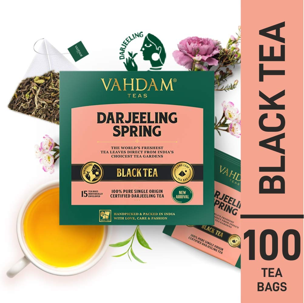 VAHDAM, Exotic Darjeeling First Flush Tea Leaves, 100 Count, Long Leaf Pyramid Darjeeling Tea Bags, Aromatic & Flowery, 100% Pure Unblended First Flush Darjeeling Tea, Packed in India