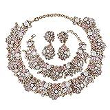 Holylove Light Pink Color Vintage Statement Choker Necklace& Bracelet & Earings 3 PCS Set-light pink 3pcs
