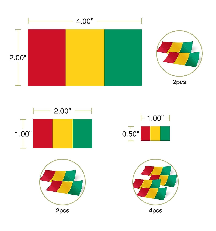 Desert Cactus Guinea Country Flag Sticker Decal Variety Size Pack 8 Total Pieces Kids Logo Scrapbook Car Vinyl Window Bumper Laptop V