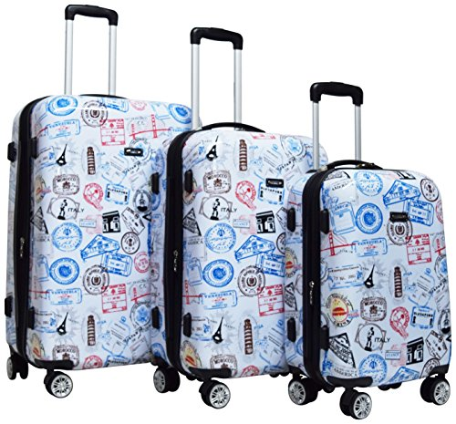 Kemyer 788 Vintage World Series Lightweight 3-PC Expandable Hardside Spinner Luggage Set: 28'', 24'', and 20'' (Silver Stamps) by Kemyer