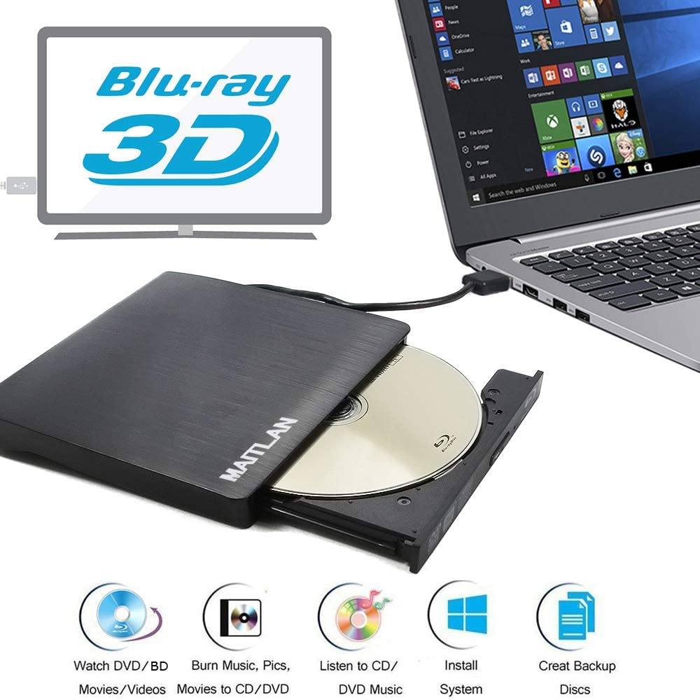 Blue-ray Combo 8X DVD+-RW CD Burner Optical Drive External USB 3.0 6X Blu-ray 3D Movies Players for HP Envy X360 13 15 17 17t 17m 13t 15t 15z 15m m6 2-in-1 15.6 Touch Convertible Ultrabook Laptop