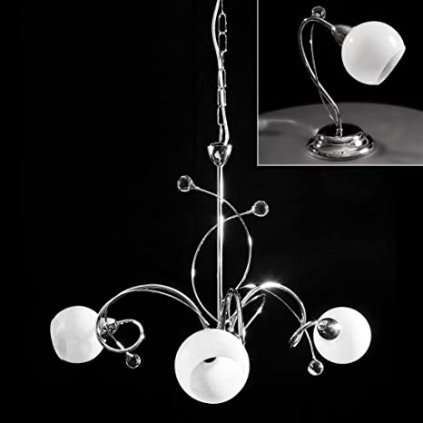 Kit lampadario a sospensione + 2 abat jour cromate con cristallo ...