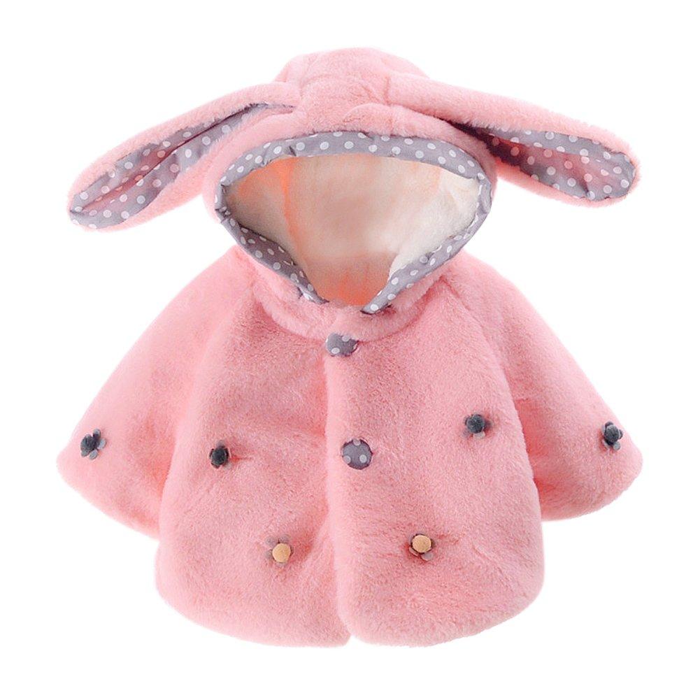 Baby Toddler Girls' Bunny Ear Hooded Faux Fur Cape Wrap Coat Cloak Pink 2-3