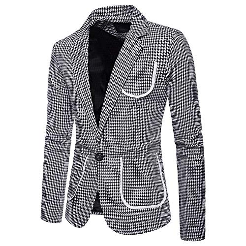 (Sunhusing Men's Houndstooth Print One Button Blazer Suit Casual Multi-Pockets Short Jacket )