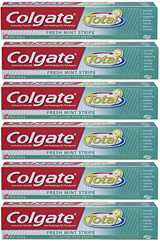 Colgate Total Fresh Mint Stripe Gel Toothpaste, 7.8 Ounce (Pack of 6)
