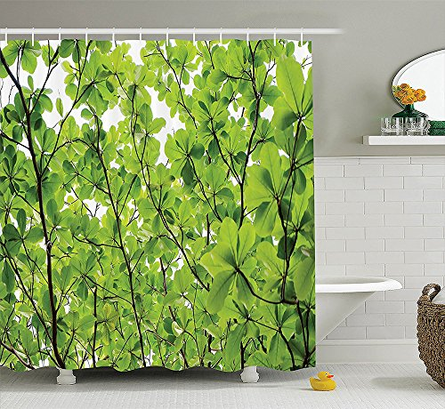 [House Decor Collection Japanese Cherry Tree Blossom in Watercolor Painting Effect Oriental Stylized Art Deco Polyester Fabric Bathroom Shower Curtain Set Black] (Dr Gregory House Costume)