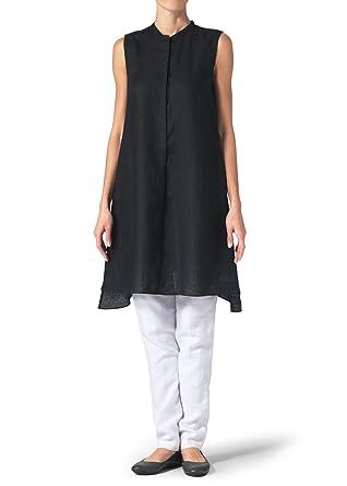 3a7f8dd299 Vivid Linen Sleeveless A-line Long Tunic at Amazon Women s Clothing ...