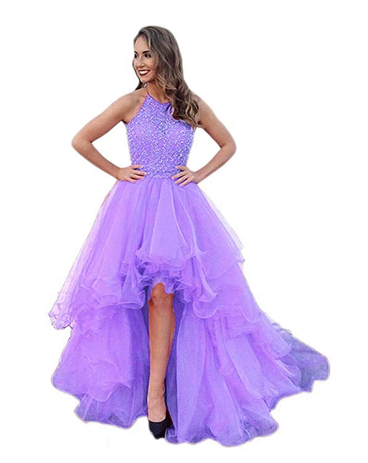 Lavender EEFZL Women's High Low Beading Organza Prom Dresses Sequined Halter Evening Ball Gown