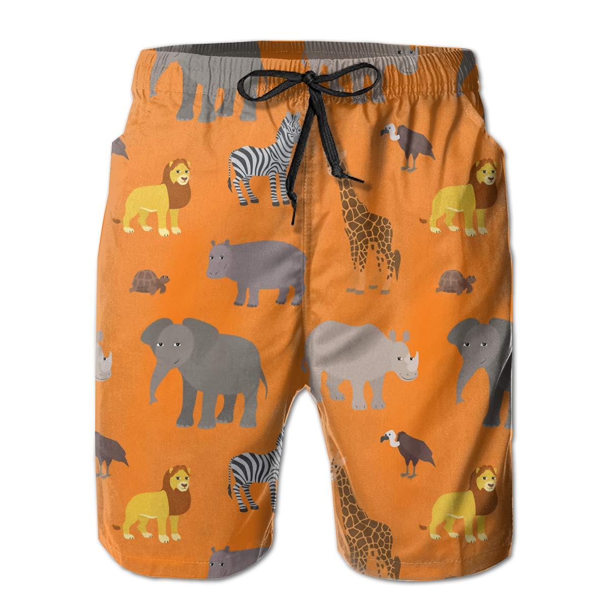 SARA NELL Mens Swim Trunks Cartoon African Animals Lion Zebra Surfing Beach Board Shorts Swimwear