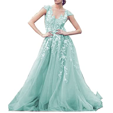 Molixin Champagne Ball Gown Plus Size Prom Dress Lace Prom Dresses Guest Evening Dresses Blue,