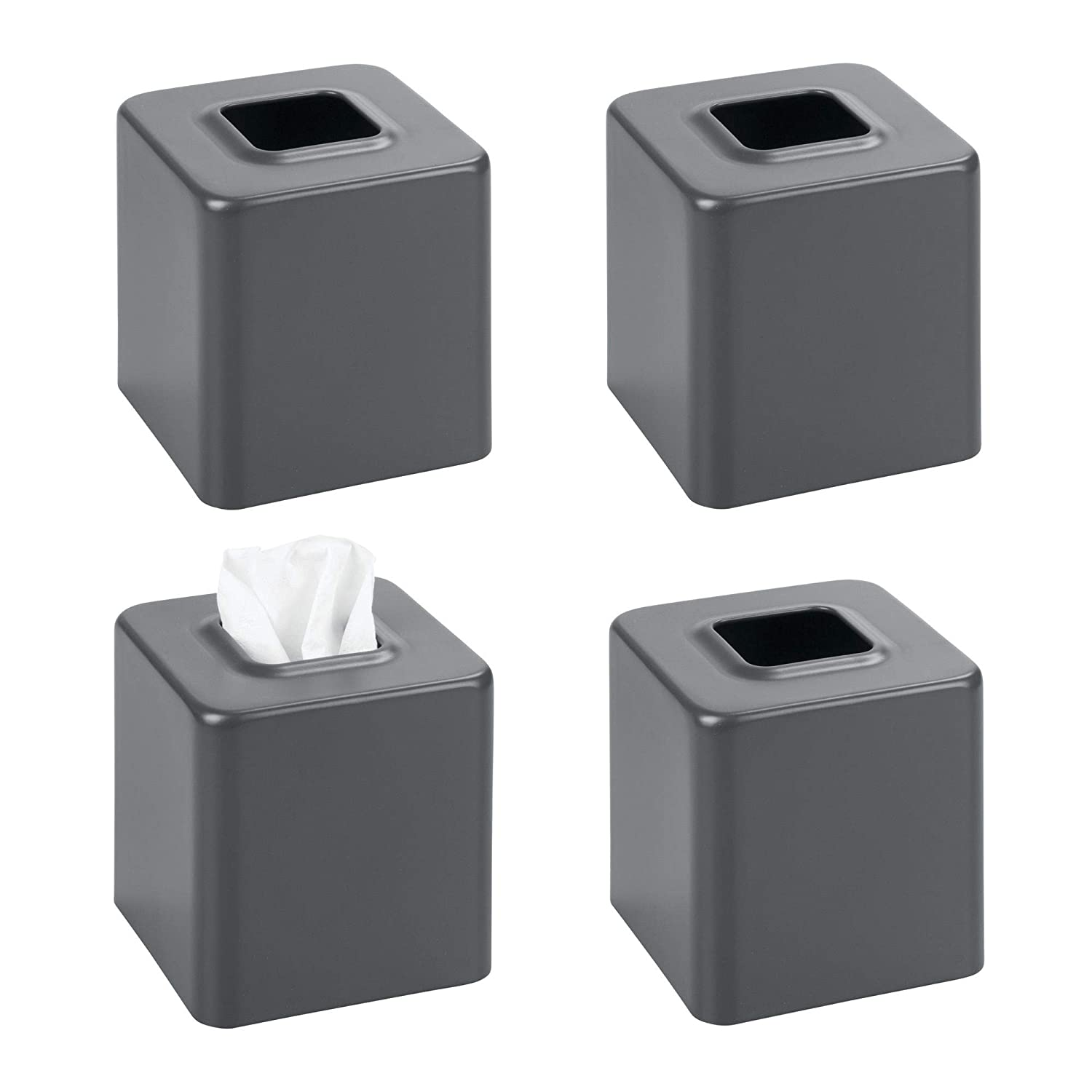 Desks and Tables mDesign Modern Square Metal Paper Facial Tissue Box Cover Holder for Bathroom Vanity Countertops Black MetroDecor 2758MDBA Bedroom Dressers Night Stands