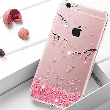 EMAXELERS Funda iPhone 7 Plus, Ligera Silicona Suave TPU Gel Bumper Cover de Protección Antideslizante [Anti-Rasguño] Caso para iPhone 8 Plus 5.5 Inch,Cherry Blossoms: Amazon.es: Electrónica