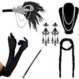 DRESHOW 1920s Accessories Sets Costume Gatsby Feather Headband Earrings Gloves