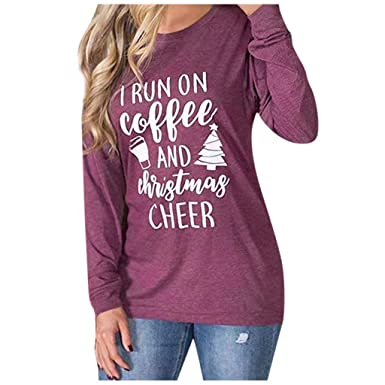 SMILEQ Camiseta de Navidad para Mujer Casual Color Costura ...