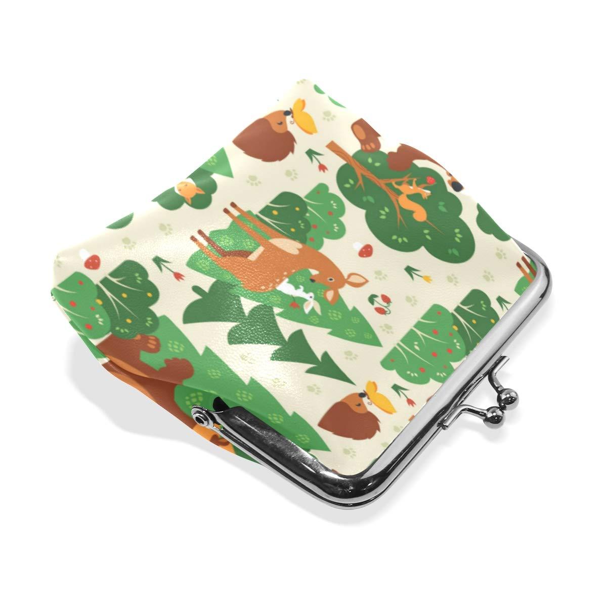 Funny Fox Bear Deer Bunny Hedgehog Coin Purse Buckle Vintage PU Pouch Kiss-lock Wallet for Women Girl