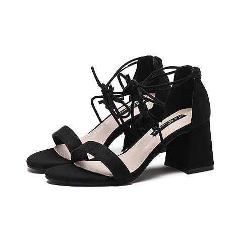 SHOESHAOGE Cinturino High-Heeled Sandali Di Spessore E Con Gli Studenti A Roma Con Balcone Unico Di Scarpe E Sandali Calzature…