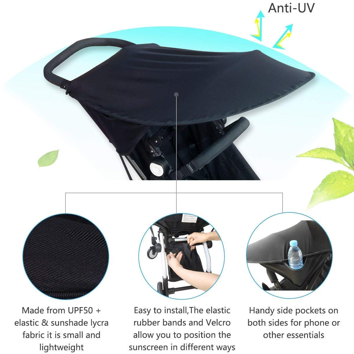 ZLMI Baby Stroller Sun Cover,Baby Carriage Awning,Infant Pushchair Sun Shade Baby Stroller Black Sun Shield Has Excellent UV Protection by ZLMI (Image #5)