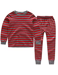 CNBABY Little Boys Striped Pajamas Sleepwear Cotton T-Shirt & Pants Pjs