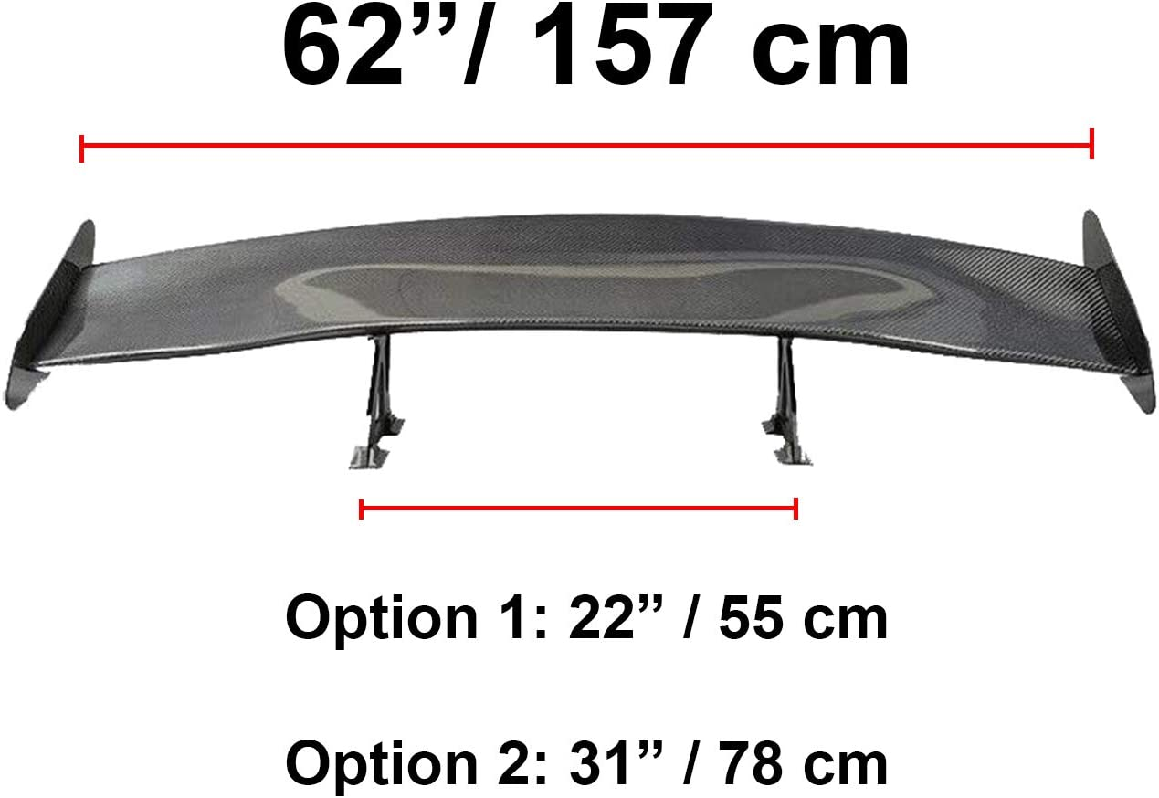 "Universal Fit Rear Trunk Deck Spoiler Carbon Fiber GT Wing 61.8"" L // 7/"" H"