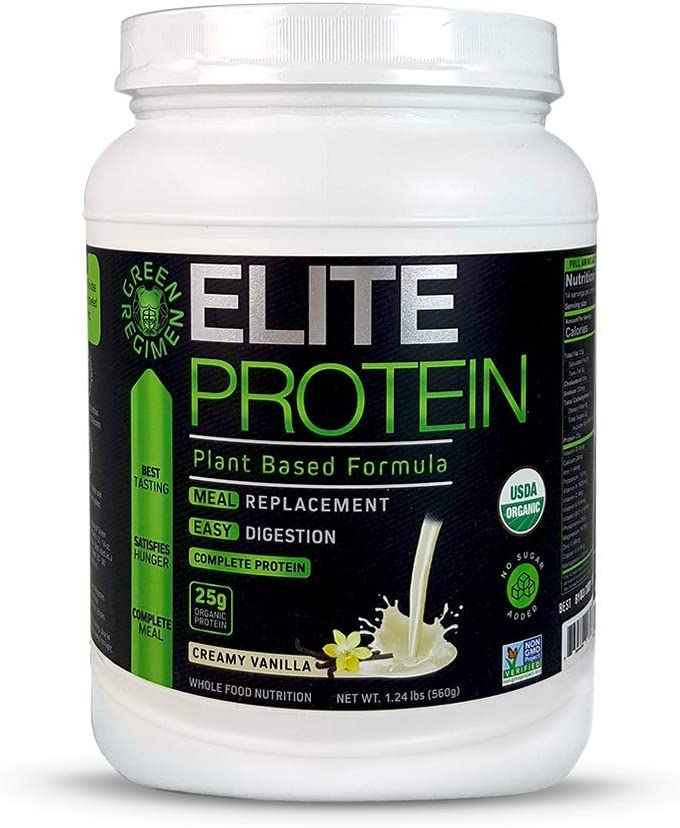 Elite Protein – Organic Plant Based Protein Powder, Vanilla, Pea and Hemp Protein, Muscle Recovery and Meal Replacement Protein Shake, USDA Organic, Non-GMO, Dairy-Free – Vegan – 14 Servings