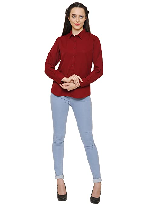 indietoga Women's Maroon Solid Casual Shirt Tops
