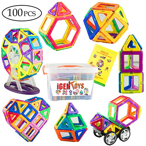 IgenToys Magnetic Blocks for Kids: Includes 100 Colorful Magnetic Tiles, Storage Box, and Building Booklet - Educational Toy for Boys and Girls (100 PCS)
