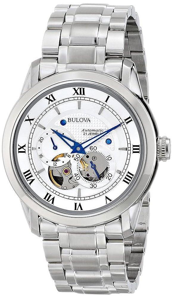 Bulova Automatic 96A118 - Reloj automático de diseño para hombre - Acero inoxidable - Esfera blanca y manecillas azules: Bulova: Amazon.es: Relojes