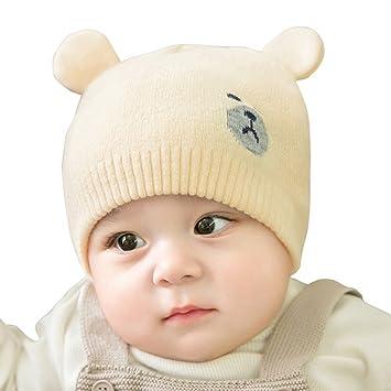 fd97ac6f95caa YAHUIPEIJP 可愛い ベビー ニット帽 赤ちゃん おクマさん 熊耳 ふわふわ キッズ 毛糸 ストライプ 新生児帽子