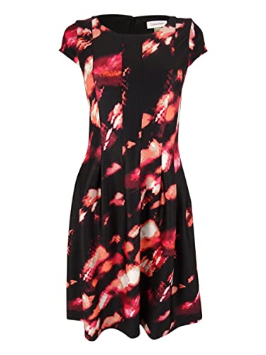 Calvin Klein Women's Cap-Sleeve Printed Fit-And-Flare Dress