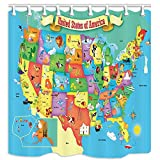 KOTOM US Map Shower Curtain for Kids Bathroom, Cartoon America Animals Tourist Attractions Fun Facts, Polyester Fabric Bath Curtains with Hooks 69W X 70L Inches