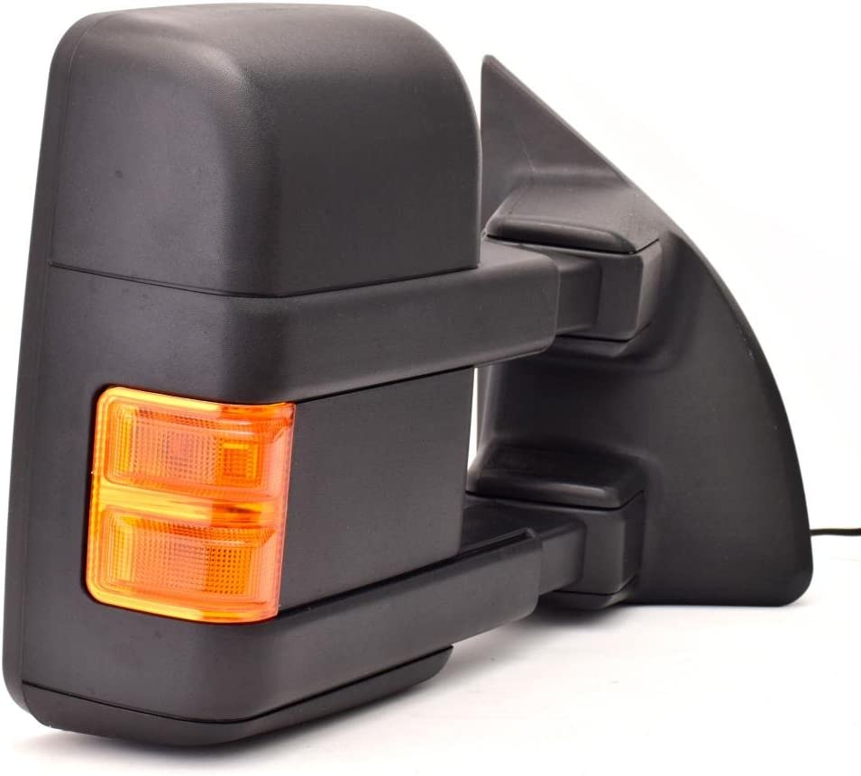 DEDC Pair 08-15 Fit for Ford Super Duty F250 F350 F450 Power Heated with Signal Light Towing Mirrors 2008 2009 2010 2011 2012 2013 2014 2015