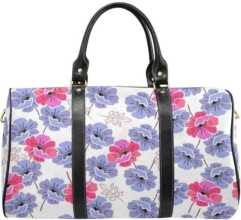 InterestPrint Carry on bag Travel Duffel Tote Unisex Weekender Bag Floral Pattern With Blue Anr Pink Poppies
